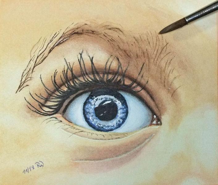 Haut, Wimpern, Baby, Augen, Iris, Aquarell