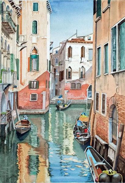 Venedig, Wasser, Kanal, Gondel, Reflexion, Aquarell