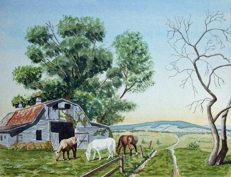 Weg, Scheune, Pferde, Baum, Aquarell, Alter