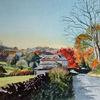 Herbst, Baum, Gebäude, Herbstfarben