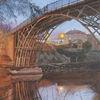 Brücke, Sträucher zweige, Abendstimmung, Fluss