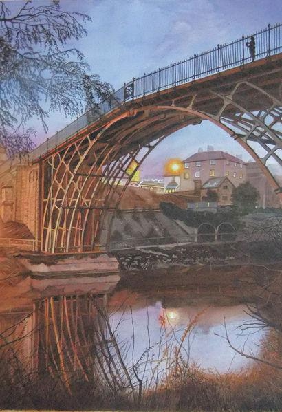 Brücke, Sträucher zweige, Abendstimmung, Fluss, Blaue stunde, Reflexion