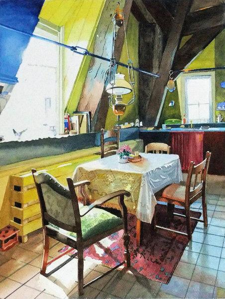 Interieur, Fenster, Windmühle, Licht, Tisch, Balken