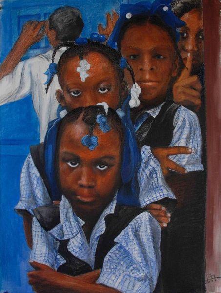 Haiti, Schule, Portrait, Mädchen, Mischtechnik, 2009
