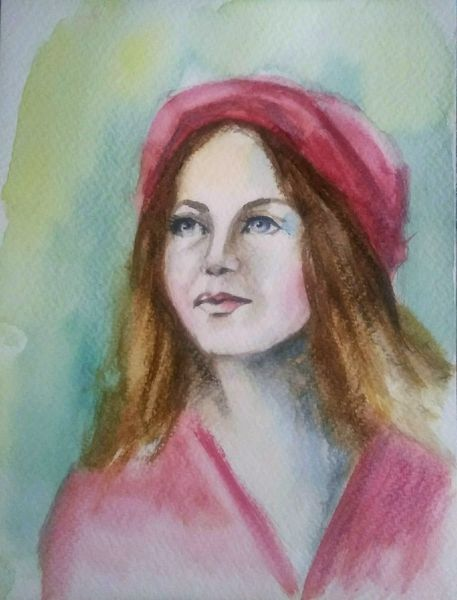 Frau, Acrylmalerei, Portrait, Frauenportrait, Hut, Malerei