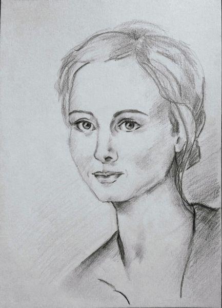 Zeichnung, Bleistiftzeichnung, Frau, Frauenportrait, Zeichnungen