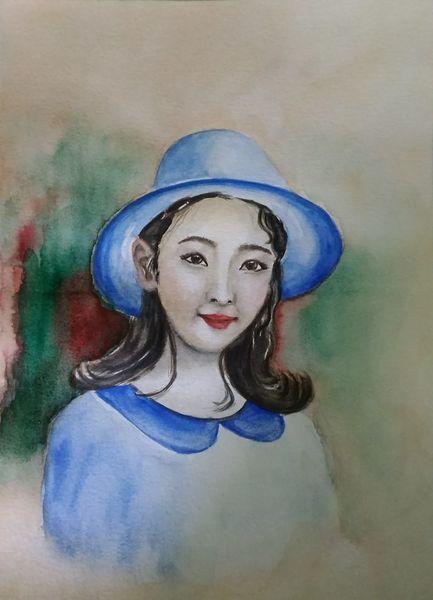Frauenportrait, Aquarellmalerei, Frau, Portrait, Aquarell, Hut