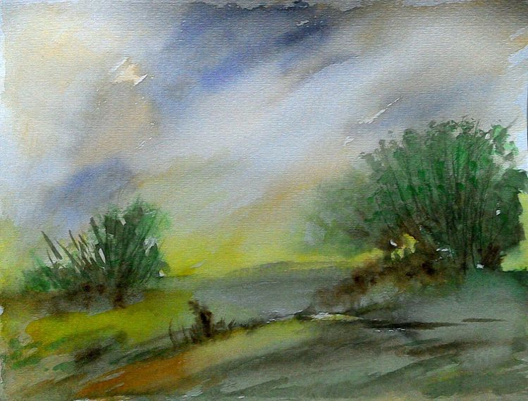 Berge, Landschaft, Aquarellmalerei, Boot, Baum, Aquarell