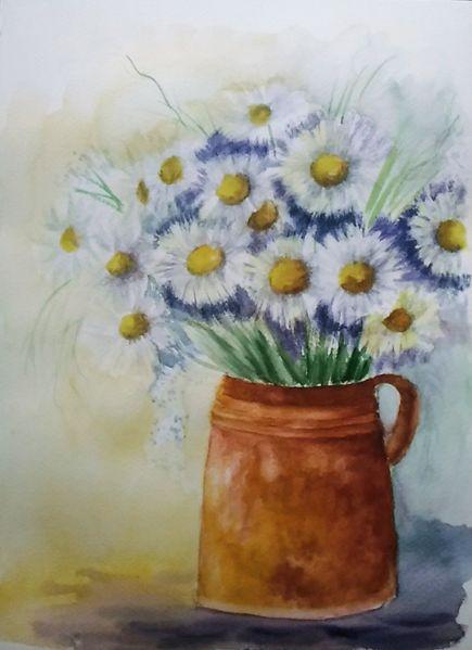 Blumenstrauß, Aquarellmalerei, Stillleben, Blumen, Vase, Margerite