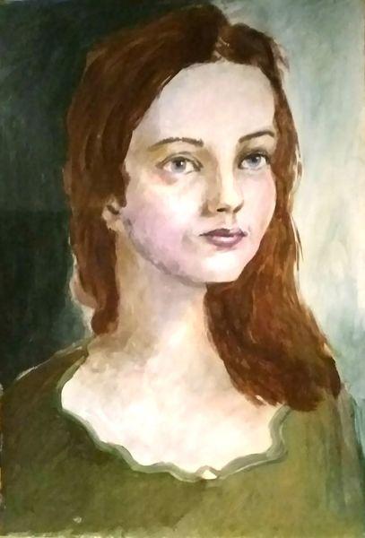 Portrait, Frauenportrait, Acrylmalerei, Frau, Malerei
