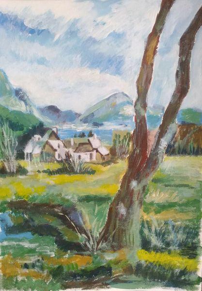 Acrylmalerei, Baum, Häuser, Landschaft, Wolken, Natur