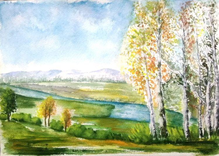 Wiese, Natur, Aquarellmalerei, Baum, Birken, Berge
