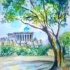 Berge, Blau, Aquarell landschaften, Akropolis