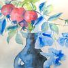 Stillleben, Clematis, Aquarellmalerei, Blumen