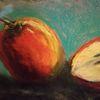 Apfel, Aufgeschnitten, Schatten, Malerei