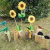 Blumen, Tiere, Holzscheit, Kunsthandwerk