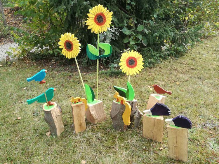 Holzscheit, Blumen, Tiere, Kunsthandwerk, Garten