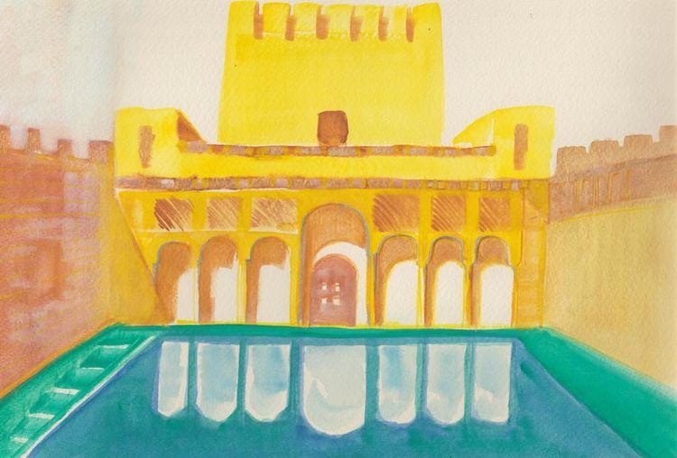 Helligkeit, Frische, Aquarellmalerei, Farben, Architektur, Spanien