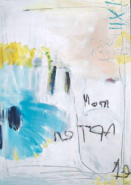 Türkis, Abstrakt, Modern art, Modern, Acrylmalerei, Gelb