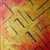 Gemälde, Gelb, Gold, Acrylmalerei