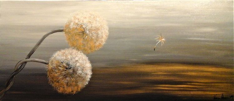 Weiß, Hand gemalt, Wunschbild, Pusteblumen, Acrylmalerei, Wandbild