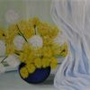 Gelb, Pusteblumen, Malerei, Blau