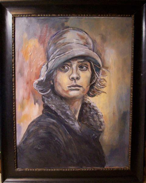 Malerei, Frau, Hut