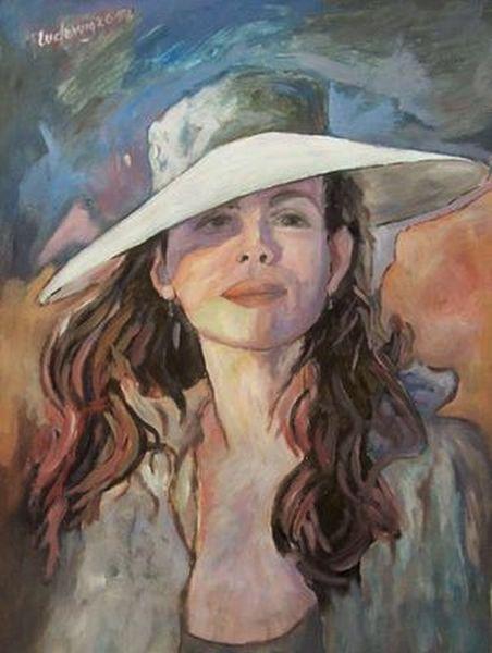 Hut, Frau, Malerei, Licht
