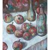 Flasche, Stillleben, Apfel, Malerei