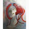 Rot, Frau, Malerei, Oktober