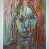 Malerei, Schmerz, Frau, Aquarell