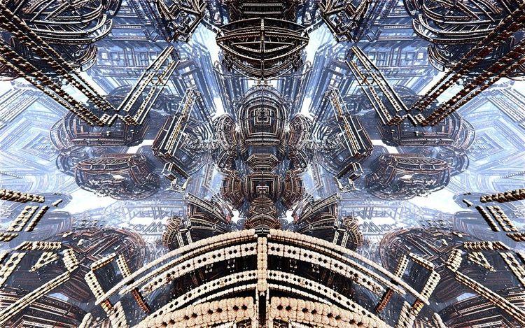 Alien, Universum, Modern, Stadt, Abstrakt, Digitale kunst