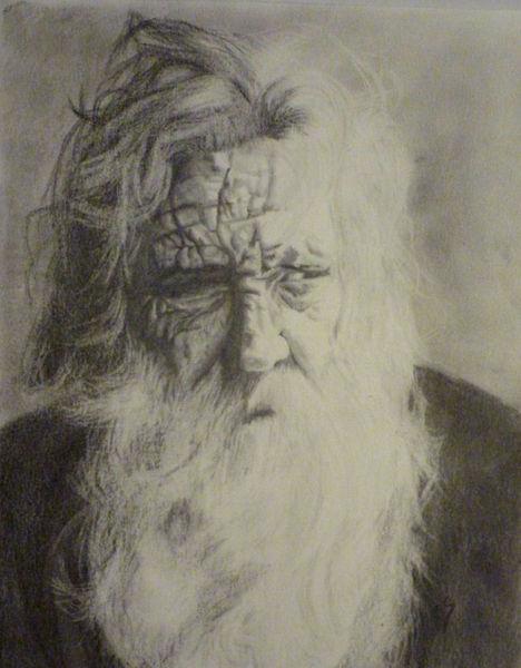 Bärtig, Portrait, Weiß, Zeichnung, Bart, Opa