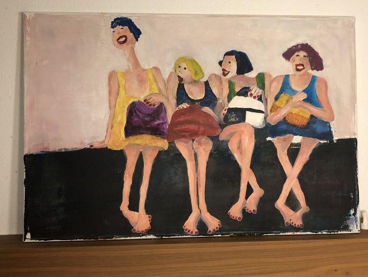 Lustige weiber, Fröhlichkeit, Acrylmalerei, Malerei,