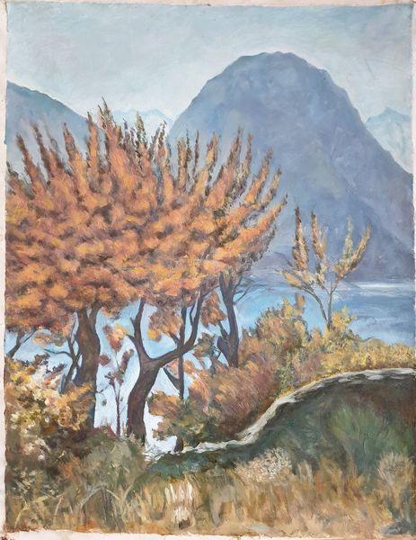 Berge, Gelb, Herbst, Blumen, Landschaft malerei, Stein