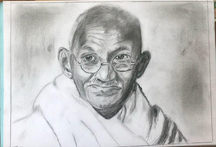 Gandhi 2, Bleistiftzeichnung, Zeichnungen,
