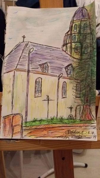 Kirche, Barock, Dorf, Zeichnungen