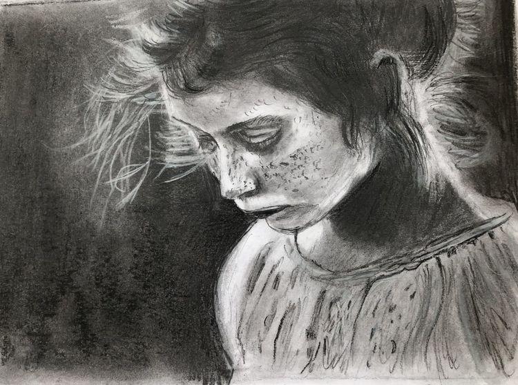 Mädchen, Traurig, Bleistiftzeichnung, Zeichnungen