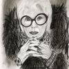 Iris apfel, Kohlezeichnung, 40 x50, Bleistiftzeichnung