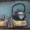 30 x40, Teekanne, Pastellmalerei, Malerei