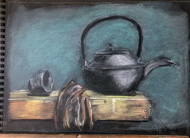 Teekanne, Pastellmalerei, 30 x40, Malerei