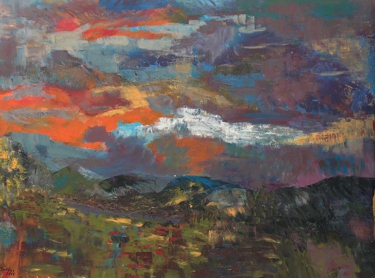 Abstrakt, Landschaft, Acrylfarben, Malerei