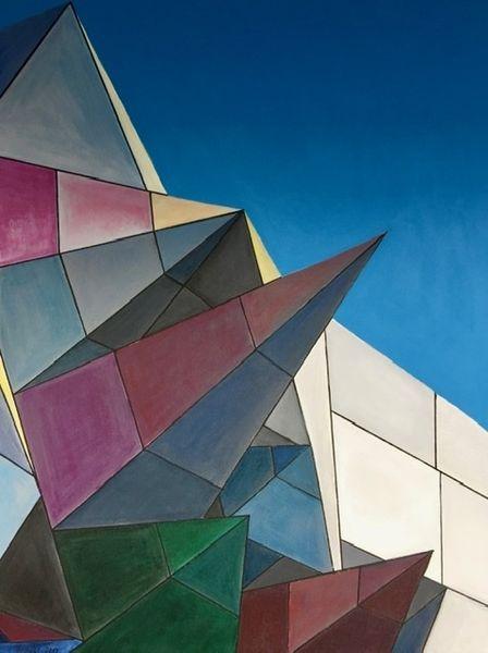 Gebäude, Modern, Acrylmalerei, Malerei, Architektur