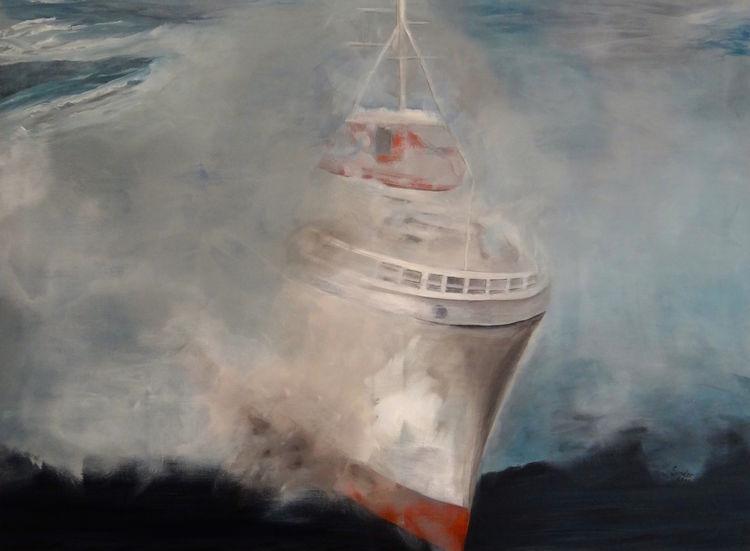 Acrylmalerei, Nebel, Schiff, Malerei