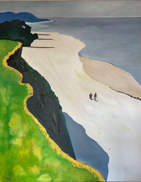 Strand, Steilküste, Spaziergang, Malerei, Landschaft und natur