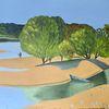 Landschaft, Angler, Stimmung, Malerei