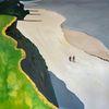 Steilküste, Spaziergang, Strand, Malerei