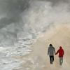 Nebel, Spaziergang, Strand, Malerei