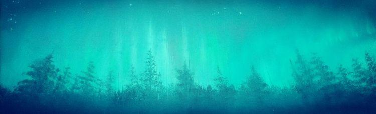 Skandinavien, Nordlicht, Baum, Malerei, Landschaft