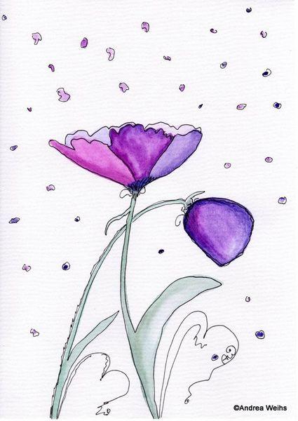 Malerei, Blumen, Landschaft, Aquarellmalerei, Aquarell